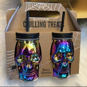 Chilling Treats Set of 2 Rainbow Skull Sippers